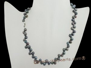 pnset196 wholesale Stunning black cultured pearl necklace earrings set