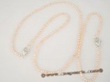 pnset198 wholesale small rice seed pearl necklace and bracelet set in pink