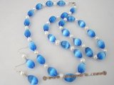 pnset201 Fashion deep blue spiral opal and pearl necklace set wholesael online