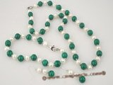 pnset204 6-7mm white potato pearls & malachite jewelry set on sale