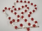 pnset207 wholesale 6-7mm white potato pearls and red jade necklace&bracelet set
