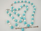 pnset210 Blue turquoise and 6-7mm white potato pearls necklace&bracelet jewelry set