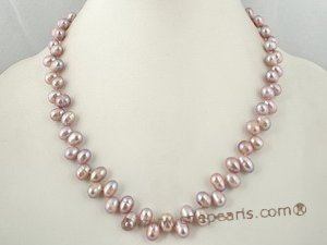 pnset212 wholesael freshwater dancing pearl necklace set in purple color