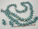 pnset216 wholesale 6-7mm freshwater dancing pearl necklace set in blue color