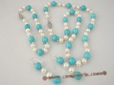 pnset219 wholesale Blue turquoise and 6-7mm potato pearls necklace&bracelet jewelry set