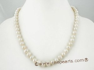 Pnset230 hand-knotted 7-8mm white freshwater cultured pearl jewelry set