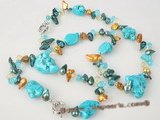 pnset259 Fashion multicolor blister pearl and turquoise necklace&bracelet jewerly set