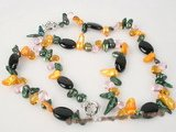 pnset260 Enticing multicolor blister pearl and black agate necklace&bracelet set