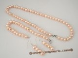 pnset262 Elegance pink freshwater potato pearl necklace&bracelet set on sale