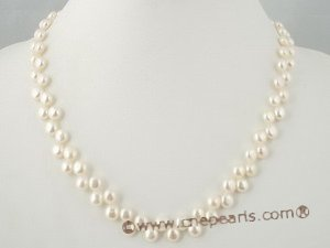 pnset264 Stunning 6-7mm white bread pearl necklace&bracelet jewelry set in wholesale