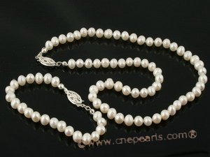 pnset278 5-6mm white potato seed pearl Necklace&bracelet jewelry set