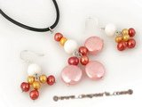 pnset284 Elegance Summer Jewelry Set with Pink and Red Freshwater Pearls