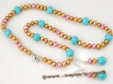 pnset285 Elegance Turquoise and Gold and Pink Freshwater Pearl Earrings and Necklace