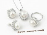 Pnset312 Premium quality sterling silver 10-10.5mm  bread pearl jewelry set on sale