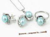Pnset313 Fine quality blue 8.5-9mm bread pearl sterling silver jewelry set in wholesale