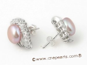 Pnset324 Wholesale 8-8.5mm purple bread pearl jewelry set in 925silver