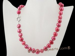 Pnset328 Elegant 10-11mm baroque nugget pearl matinee necklace &earring set