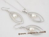 pnset331 sterling silver oval hoop and rice pearl jewelry set in wholesale