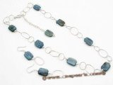 pnset349 Smart Sterling silver gemstone necklace earrings set for Xmas