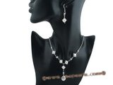 pnset354 Sterling silver Star pattern bread pearl CZ jewelry set for Xmas&#39s  day