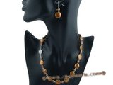 Pnset355 Elegant 12-13mm chocolate color coin pearl matinee necklace &earring set