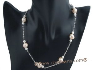 pnset366 Designer Style white and pink freshwater potato pearl necklace in 925silver