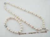 pnset404 Fashion 8-9mm white freshwater potato pearls necklace jewelry set