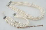pnset406 Four rows 4-5mm freshwater round pearl choker necklace& bracelet set