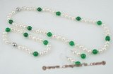 Pnset410 Elegant potato pearl and green jade jewelry set for 2009 spring