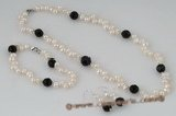pnset450 Fashion discount side drilled pearl& black crystal jewelry set on sale