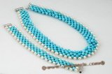 pnset471 Hand Knitted Round Turquoise and Pearl Choker Necklace& Bracelet
