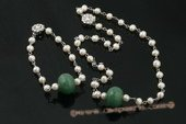 pnset472 Hand crafted potato pearl and jade necklace &brcacelet set