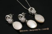 pnset477 Charming 925silver oval coin pearl pendant &earring jewelry set