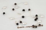 pnset481 Stylish smoking quartz& coin pearl Xmas necklace set in sterling silver