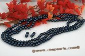 pnset496 Triple strands 8-9mm Peacock blue off round pearl layer necklace