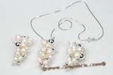 pnset498 White 8*22mm Long Dirlled Biwa Pearl Costume Necklace& Earrings set