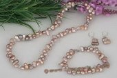 pnset500 Hand-strung 6*10mm Mid-drilled Peanut/twin Pearl Necklace set