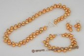 pnset502 Hand-knotted 6-7mm champagne dye color firecracker shape pearl jewelry set