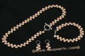 pnset505 Beautiful 6-7mm Side Drilled Bread Pearl Necklace Set in Pink