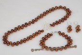 pnset508 Gorgeous Coffee 6-7mm Side-drilled Bread Pearl Necklace Set