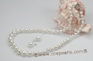 pnset512 Gradual Size White Round Shell Pearl Necklace& Earrings set