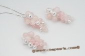 Pnset517 Grape-like Rose Quartz & Seamless Beads Pendant Necklace& Earrings