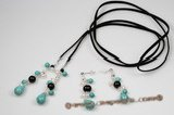 Pnset519 Lovely Black Faux Suede Long Pearl and Turquoise Drop Necklace& Earrings