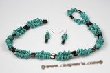 Pnset520 Sterling Silver Green Turquoise magnetic Rope Necklace& Earrings