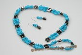 Pnset521 Sterling Silver Blue Turquoise magnetic Rope Necklace& Earrings