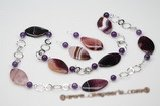 Pnset522 Hardwired 925Silver Purple Agate with Amethyst Rope Necklace