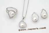 Pnset532 Elegant Oval Drop Designer 925silver Jewelry Set with Bread Pearl