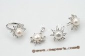 Pnset533 Elegant 9.5-10mm White Bread Pearl Flower 925silver Jewelry Set