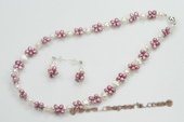 pnset551 Bouquet Design Freshwater Pearl Princess Necklace & Earring Set