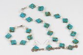 pnset556 Designer White Potato pearl and Square Turquoise Jewelry Set
